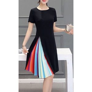 Dresses & Skirts - Black dress with rainbow pleating